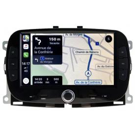 Autoradio Fiat 500 Android Bluetooth GPS Carplay Ecran Tactile Multifonction Compatible Poste Origine Lounge Abarth 500L Blue&Me